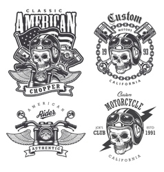 Set of vintage motorcycle t-shirt prints vector