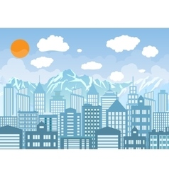 Buildings silhouette with windows cityscape with vector