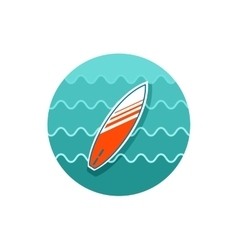 Surfboard on the water icon summer vacation vector