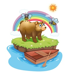 A big bear and two bees vector image vector image