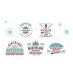 biathlon logo set winter vector image