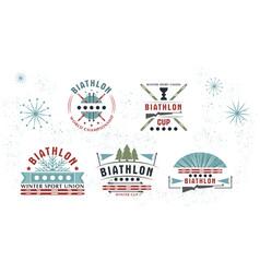 biathlon logo set winter vector image vector image