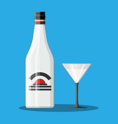 Bottle of rum with coconut and glass vector