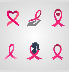 breast cancer ribbon logos set vector image