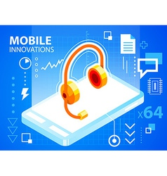 bright mobile phone and head phone on blue b vector image vector image