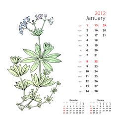 calendar january 2012 vector image
