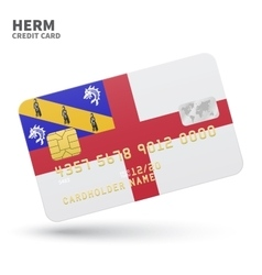 Credit card with herm flag background for bank vector