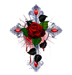 Cross with a red rose vector