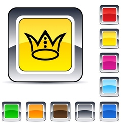 crown square button vector image vector image