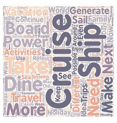 Cruise text background wordcloud concept vector