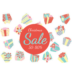 Falling gift boxes christmas promo vector