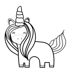 figure beautiful unicorn with horn and mane long vector image vector image