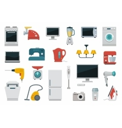 Flat icons household appliances vector image