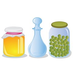 Glass jars and decanter vector image vector image