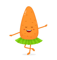 happy cute smiling funny carrot ballerina vector image