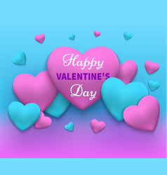 happy day valentines pink and blue vector image