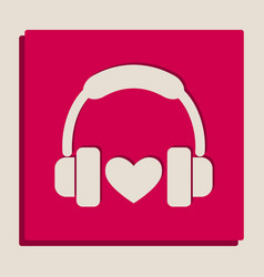 headphones with heart grayscale version vector image