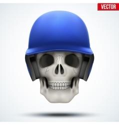 Human skull with baseball helmet vector image