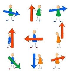 Icon set man with arrow vector image vector image