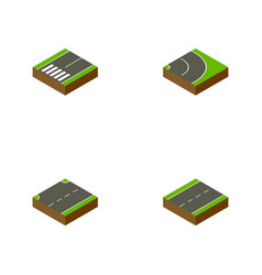 Isometric way set of asphalt upwards vector
