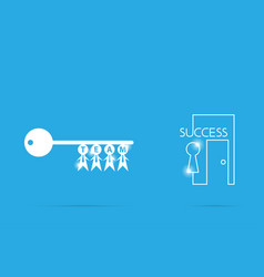 key of success with businessman symbol teamwork vector image vector image