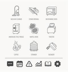 Microwave oven coffee and blender icons vector