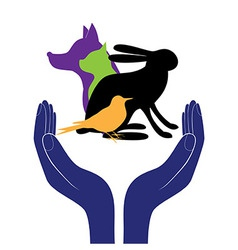 pet protection sign hand in people encouragement h vector image vector image