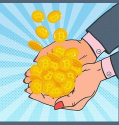 pop art female hands full of golden bitcoin vector image