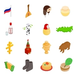Russia isometric 3d icons vector