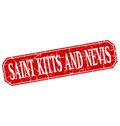 Saint kitts and nevis red square grunge retro vector