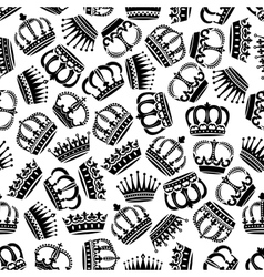 Seamless victorian royal crowns pattern background vector