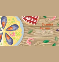 Spanish cuisine web banner paella jamon tapas vector