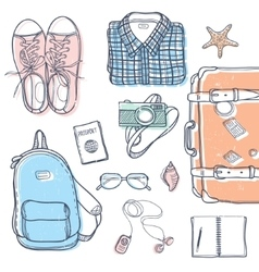 Travel stuff set vector image