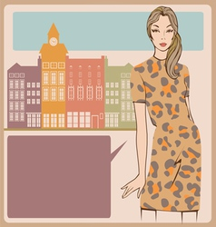 Young girl leopard dress post card vector image