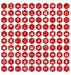 100 libra icons hexagon red vector