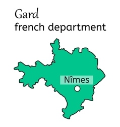 Gard french department map vector