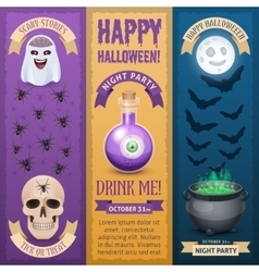 Happy halloween three stylish vertical banners vector