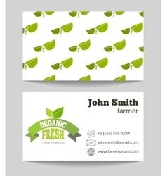 Organic fresh food farmer business card vector