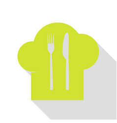 Chef hat and spoon fork knife sign pear icon vector