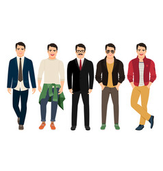 Young men in different male clothes vector