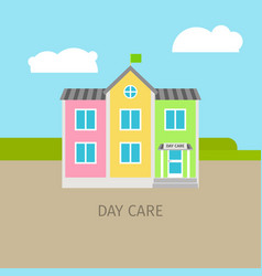 Colored urban day care building vector