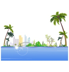Seaside cityscape view vector
