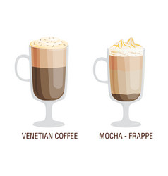 set of different transparent cups of coffee types vector image