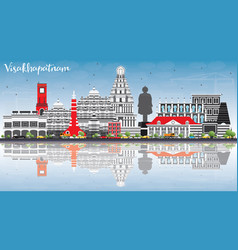 Visakhapatnam skyline with gray buildings blue vector