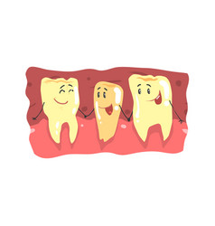Cute cartoon teeth characters with funny faces in vector