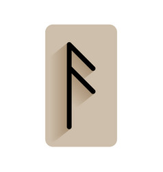 Ansuz runic alphabet and letters flat icon on vector