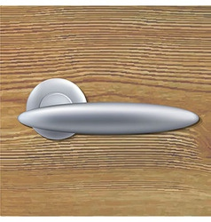 Door handle on wooden background vector
