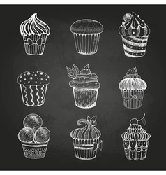 Chalk drawing set of cakes vector