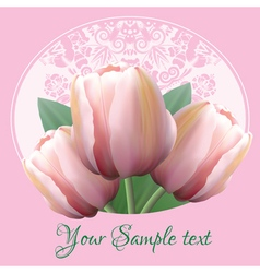 Greeting card with a bouquet of tulips vector