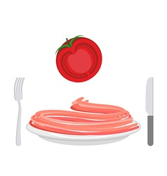 Red pasta with tomato ingredient Spaghetti on a vector image
